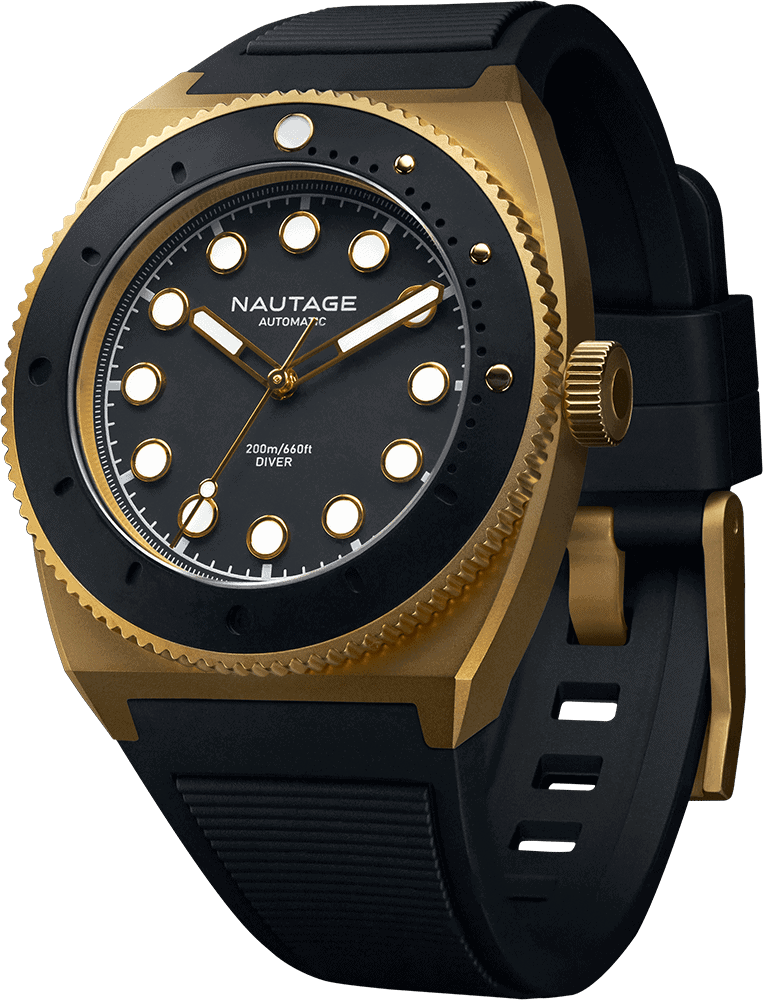 NAUTAGE D221 Automatic - Dry Gold Case - Black Dial - Black Vulcanised NBR rubber strap, saltwater- and UVA-resistant.