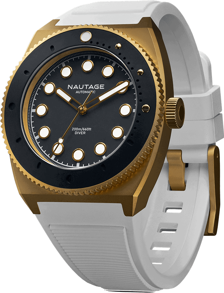 NAUTAGE D221 Automatic - Dry Gold Case - Black Dial - White Vulcanised NBR rubber strap, saltwater- and UVA-resistant.