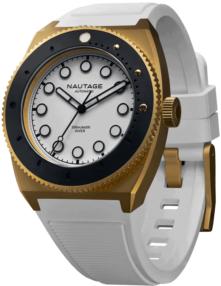 NAUTAGE D221 Automatic - Dry Gold Case - White Dial - White Vulcanised NBR rubber strap, saltwater- and UVA-resistant.