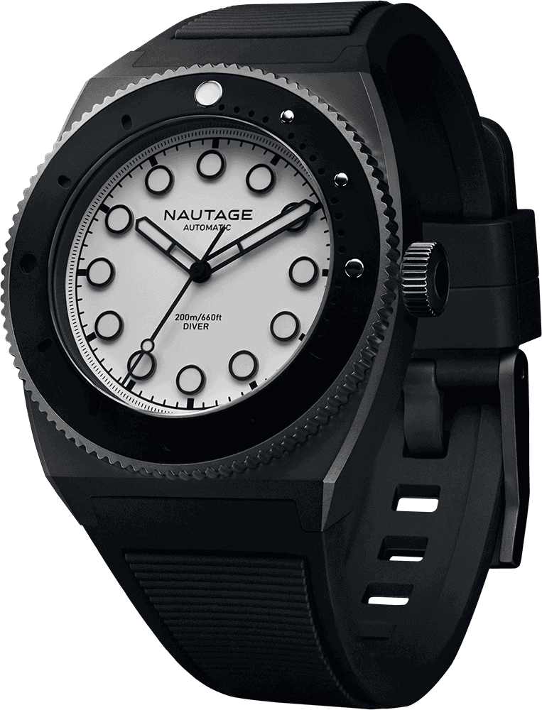 NAUTAGE D221 Automatic - Slate Grey Case - White Dial - Black Vulcanised NBR rubber strap, saltwater- and UVA-resistant.
