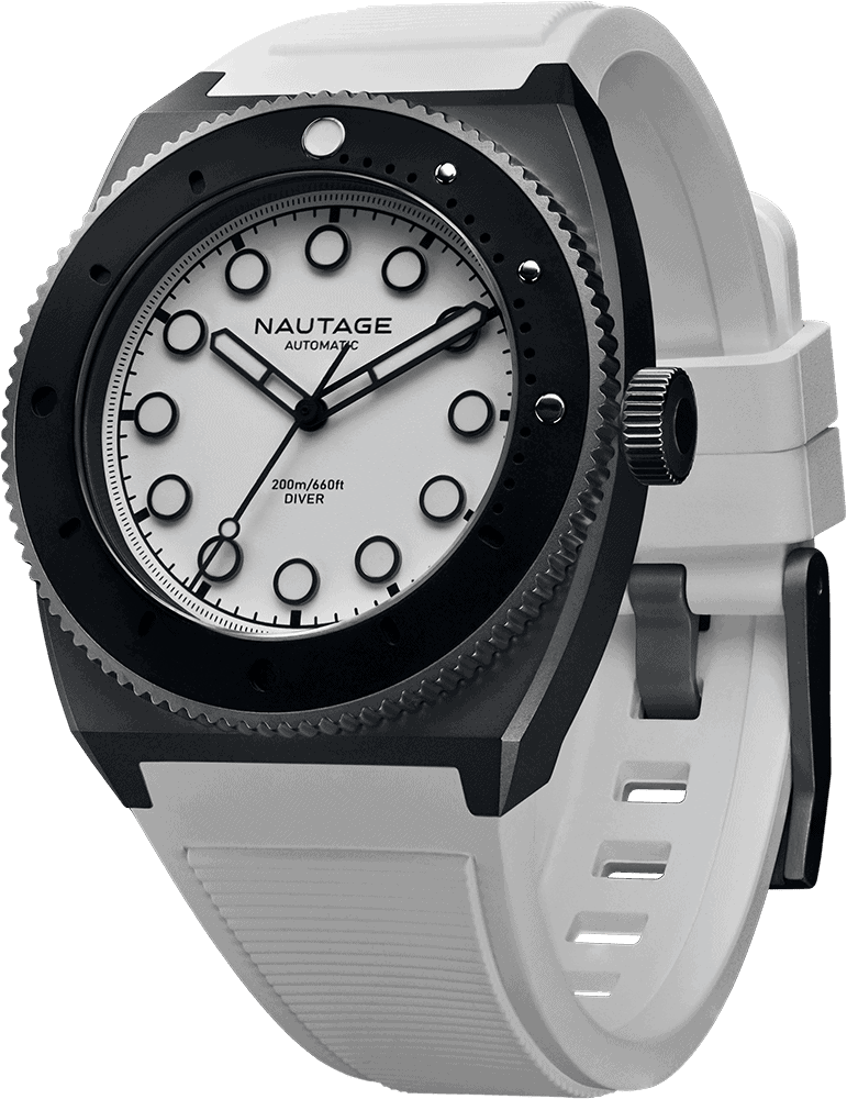 NAUTAGE D221 Automatic - Slate Grey Case - White Dial - White Vulcanised NBR rubber strap, saltwater- and UVA-resistant.