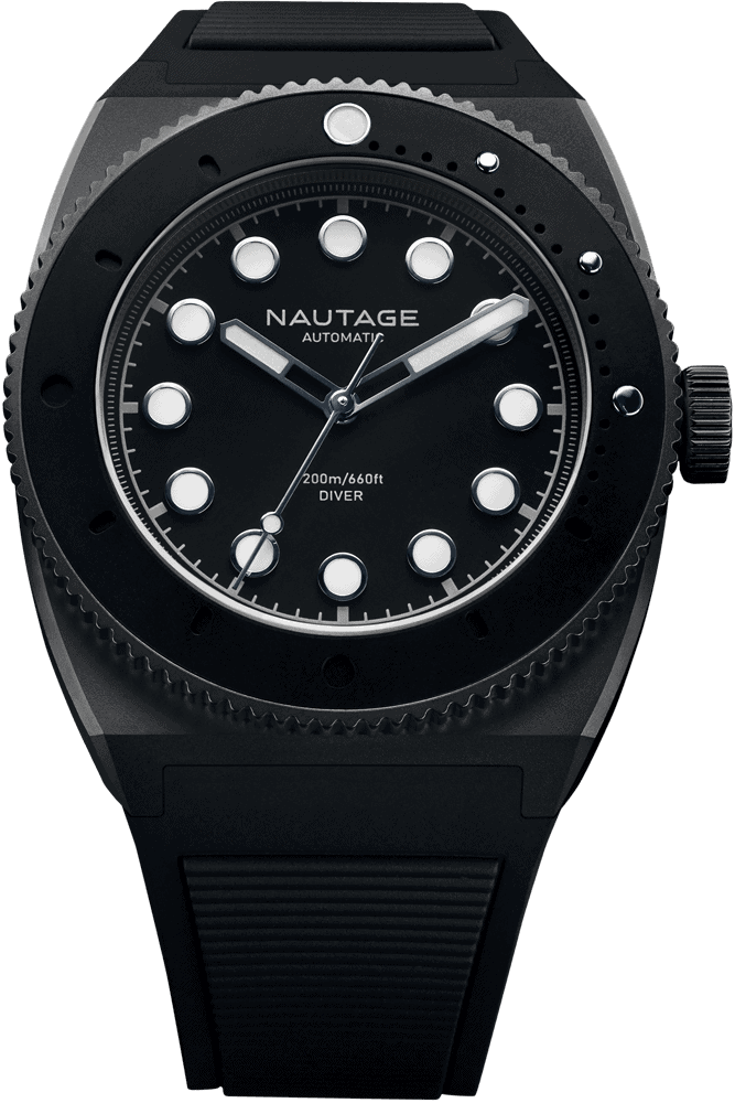 NAUTAGE D221 Automatic - Slate Grey Case - Black Dial - Black Vulcanised NBR rubber strap, saltwater- and UVA-resistant.