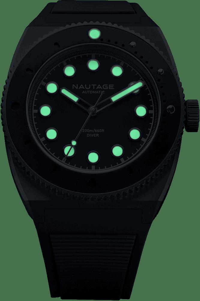 NAUTAGE D221 Automatic - Slate Grey Case - Black Dial - Black Vulcanised NBR rubber strap, saltwater- and UVA-resistant - Super Luminova Grade A