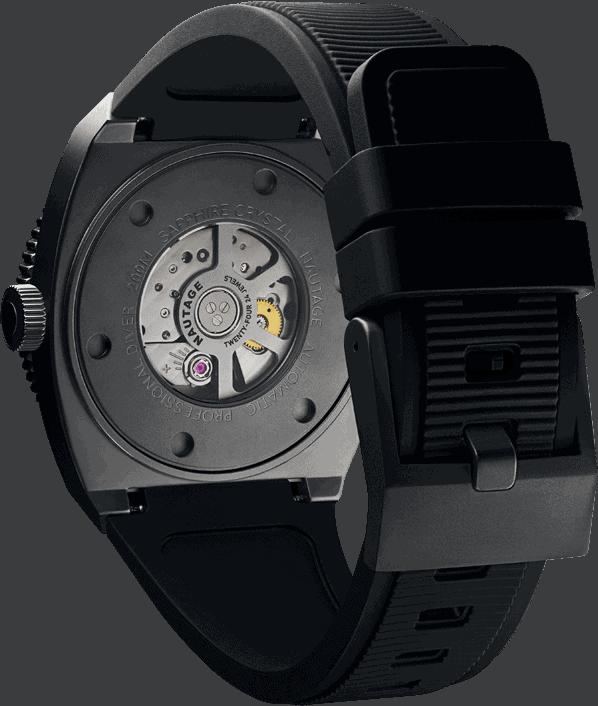 NAUTAGE D221 Automatic - Slate Grey Case - Black rubber strap - Miyota 9039 Automatic premium – 24 jewels Calibre 11 1/2´´ Shock resistant movement Vibration Frequency 28800 per hour 42 hour power reserve