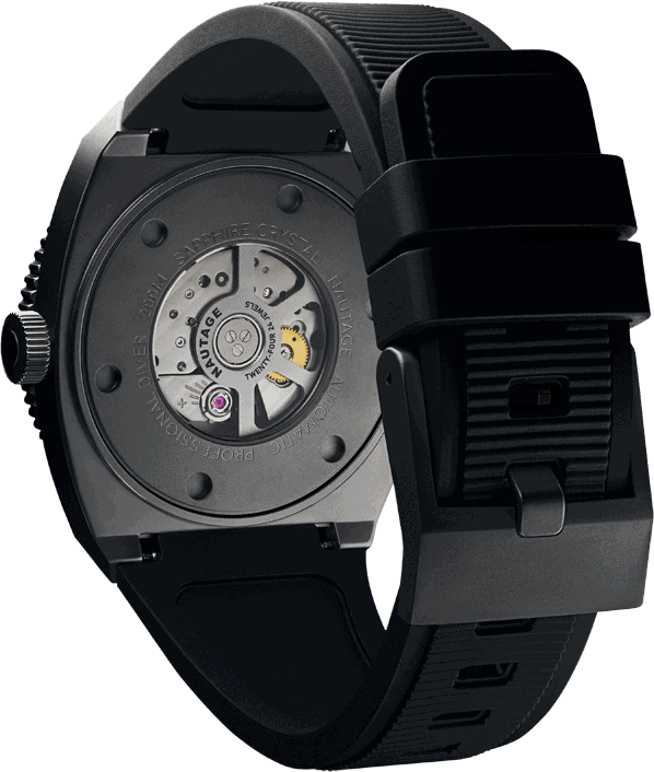 NAUTAGE D221 Automatic - Slate Grey Case - Black Vulcanised NBR rubber strap, saltwater- and UVA-resistant - Miyota 9039 Automatic premium – 24 jewels.