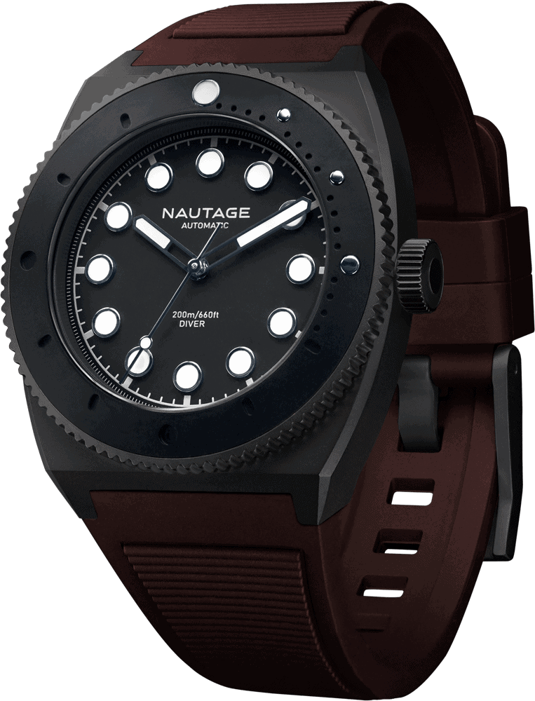 NAUTAGE D221 Automatic - Slate Grey Case - Black Dial - Rust Vulcanised NBR rubber strap, saltwater- and UVA-resistant.