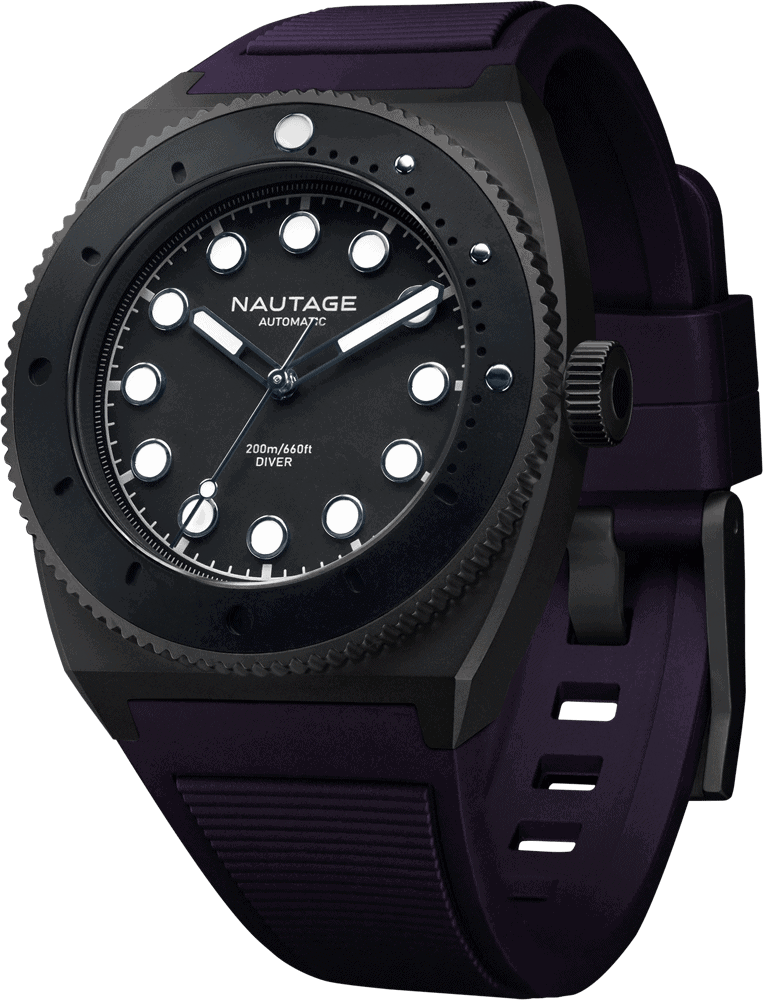NAUTAGE D221 Automatic - Slate Grey Case - Black Dial - Purple Vulcanised NBR rubber strap, saltwater- and UVA-resistant.