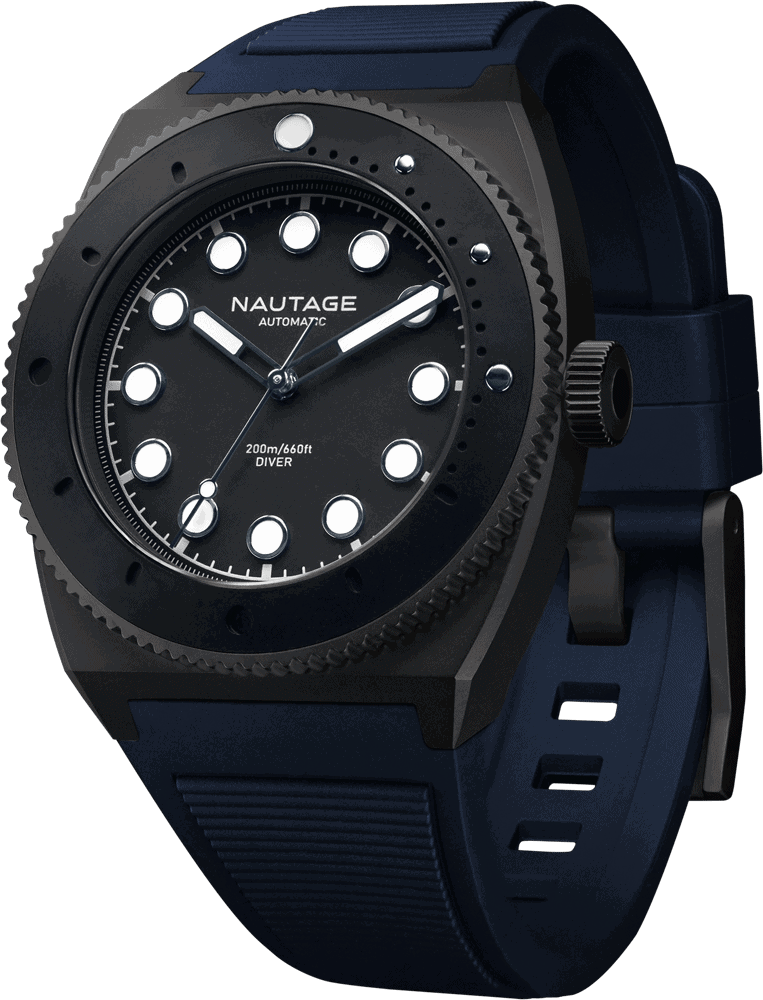 NAUTAGE D221 Automatic - Slate Grey Case - Black Dial - Blue Vulcanised NBR rubber strap, saltwater- and UVA-resistant.