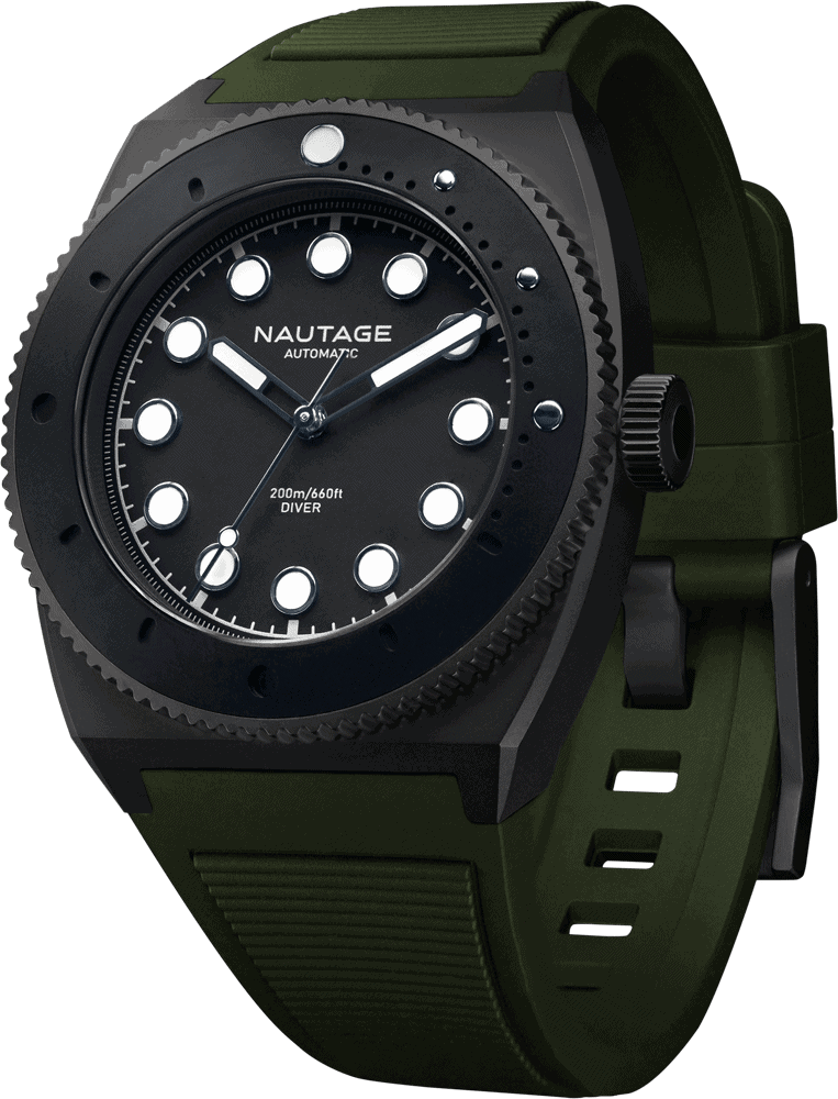NAUTAGE D221 Automatic - Slate Grey Case - Black Dial - Green Vulcanised NBR rubber strap, saltwater- and UVA-resistant.