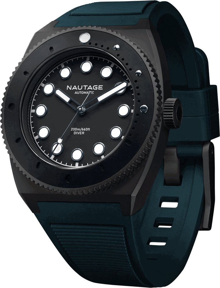 NAUTAGE D221 Automatic - Slate Grey Case - Black Dial - Teal Vulcanised NBR rubber strap, saltwater- and UVA-resistant.