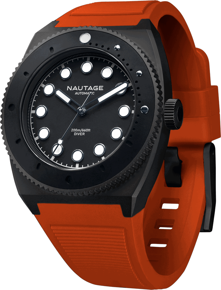 NAUTAGE D221 Automatic - Slate Grey Case - Black Dial - Orange Vulcanised NBR rubber strap, saltwater- and UVA-resistant.