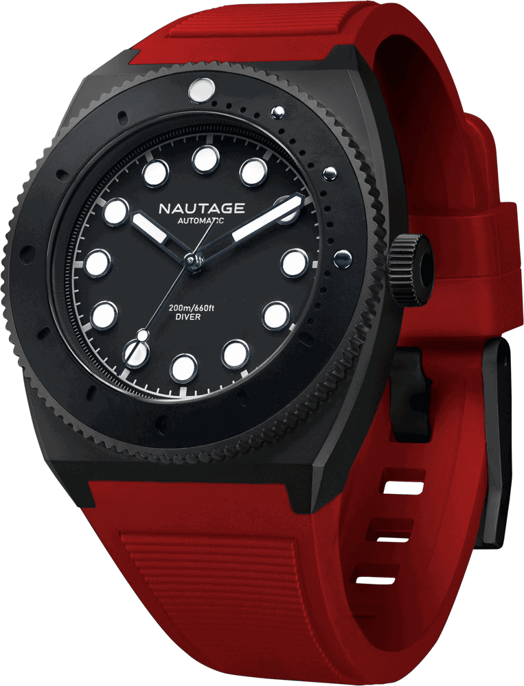 NAUTAGE D221 Automatic - Slate Grey Case - Black Dial - Red Vulcanised NBR rubber strap, saltwater- and UVA-resistant.
