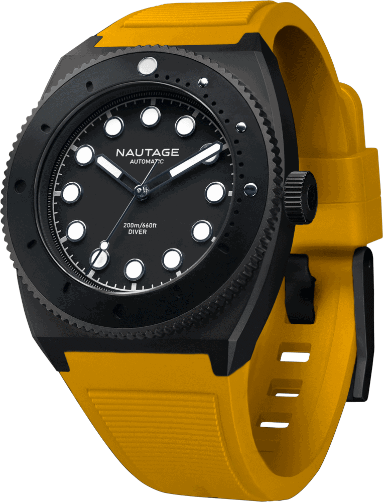 NAUTAGE D221 Automatic - Slate Grey Case - Black Dial - Yellow Vulcanised NBR rubber strap, saltwater- and UVA-resistant.