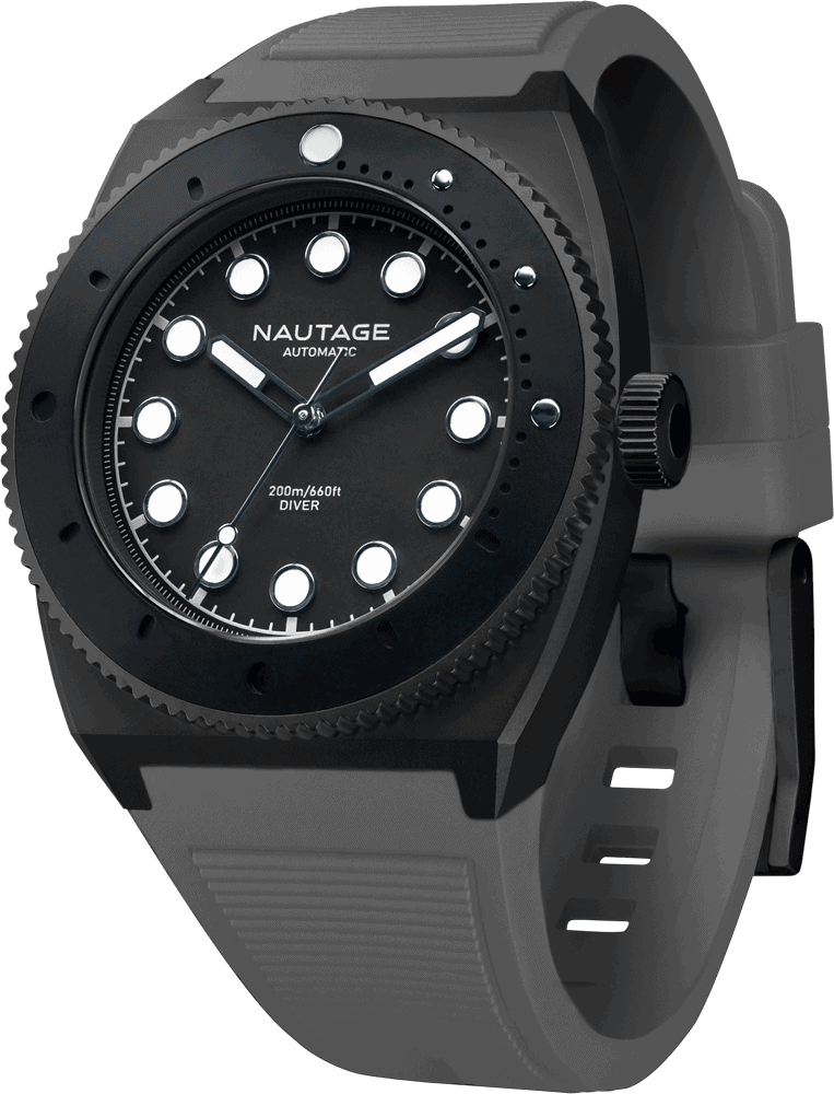 NAUTAGE D221 Automatic - Slate Grey Case - Black Dial - Grey Vulcanised NBR rubber strap, saltwater- and UVA-resistant.