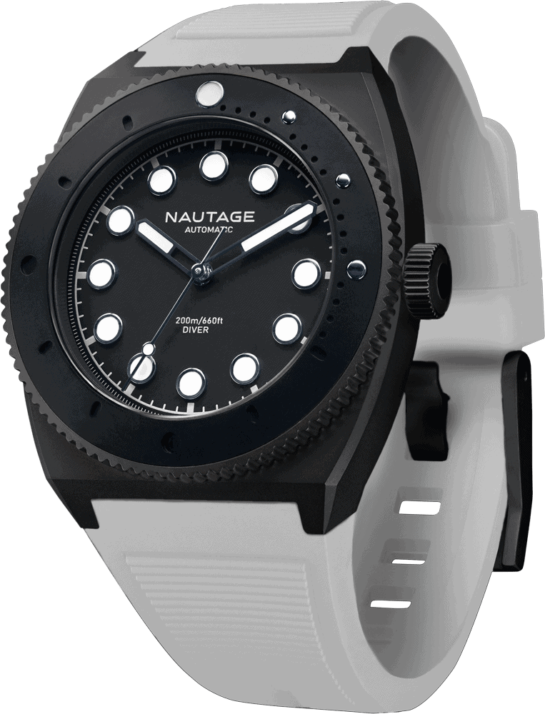 NAUTAGE D221 Automatic - Slate Grey Case - Black Dial - White Vulcanised NBR rubber strap, saltwater- and UVA-resistant.