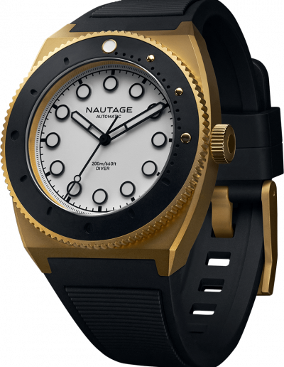 NAUTAGE D221 Automatic - Dry Gold Case - White Dial - Black Vulcanised NBR rubber strap, saltwater- and UVA-resistant.
